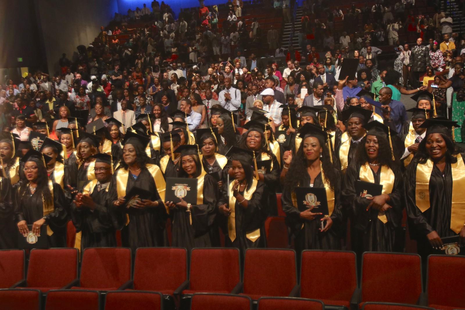 Students having their graduation ceremony